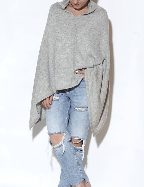 Light grey cashmere poncho poncho cape cashmere poncho