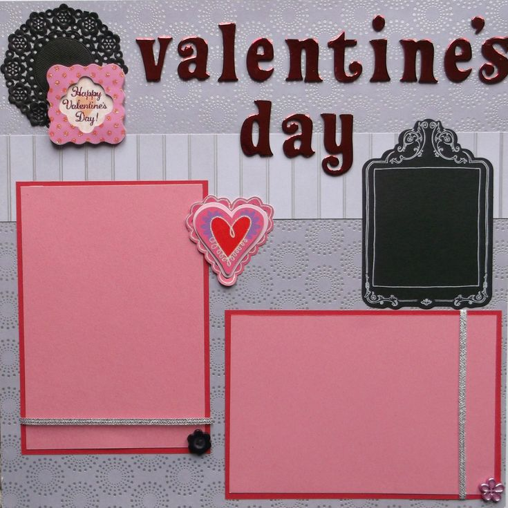 Two Valentine's Day scrapbook pages are ready to use - no assembly needed. Designed from cardstock, foiled chipboard, doilies, buttons, metallic ribbon, satin bow, faux gems, die cut, 3D stickers, and glitter. White ink pen included. Acid free and ships next day in sturdy packaging. Includes hearts, phrases, and flowers to accent your photos.