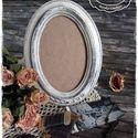 Vintage képkeret törtfehér színben - ovális, Esküvő, Otthon, lakberendezés, Esküvői dekoráció, Képkeret, tükör, Festett tárgyak, Meska