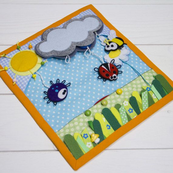 Rain-and-rainbow page, Quiet book page, Custom quiet book, Busy book