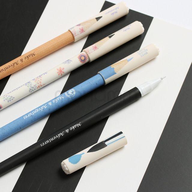 Aihao Симпатичные Kawaii 0.5 мм Карандаш Стиль Черный Синий Гелевые Ручки Для Написания Корейский Канцелярские Офисные И Школьные Принадлежности