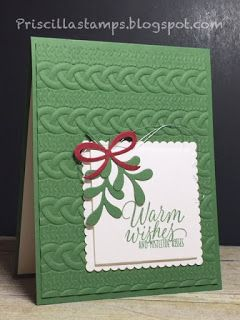 Stampin' Amigos: Time for Christmas Cards - Cable Knit embossing folder & Tin of Tags stamps & Pretty Pines dies
