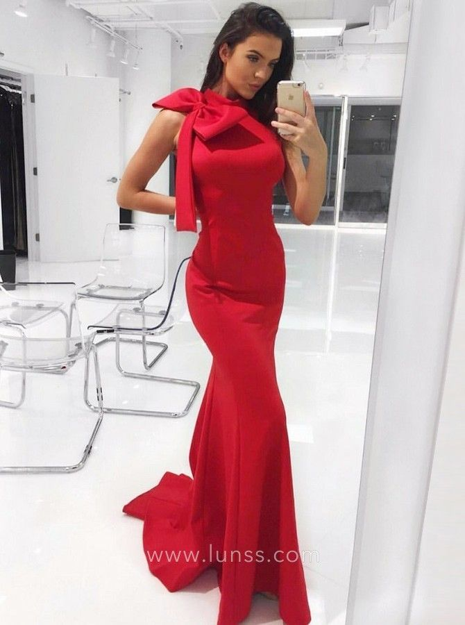 18bffc05fd Huge Bowknot Decorated Red Satin High Neck Slim Fit Mermaid Long ...
