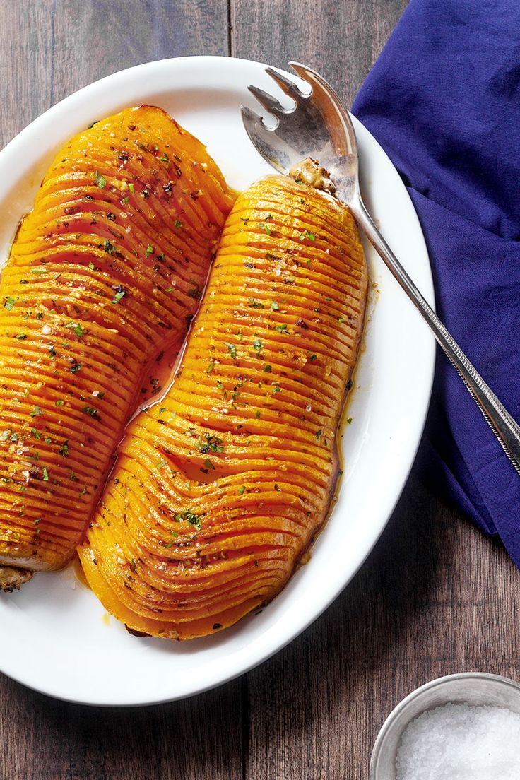 Hasselback Garlic Roasted Butternut Squash
