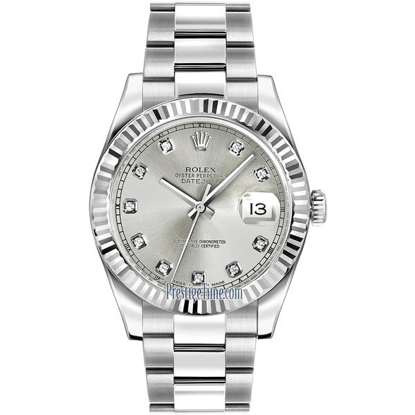 Rolex Oyster Perpetual Datejust II 116334 Silver Diamond Watch ($9,945) ❤ liked on Polyvore featuring men's fashion, men's jewelry, men's watches, stainless steel, mens silver watches, mens diamond watches and rolex mens watches