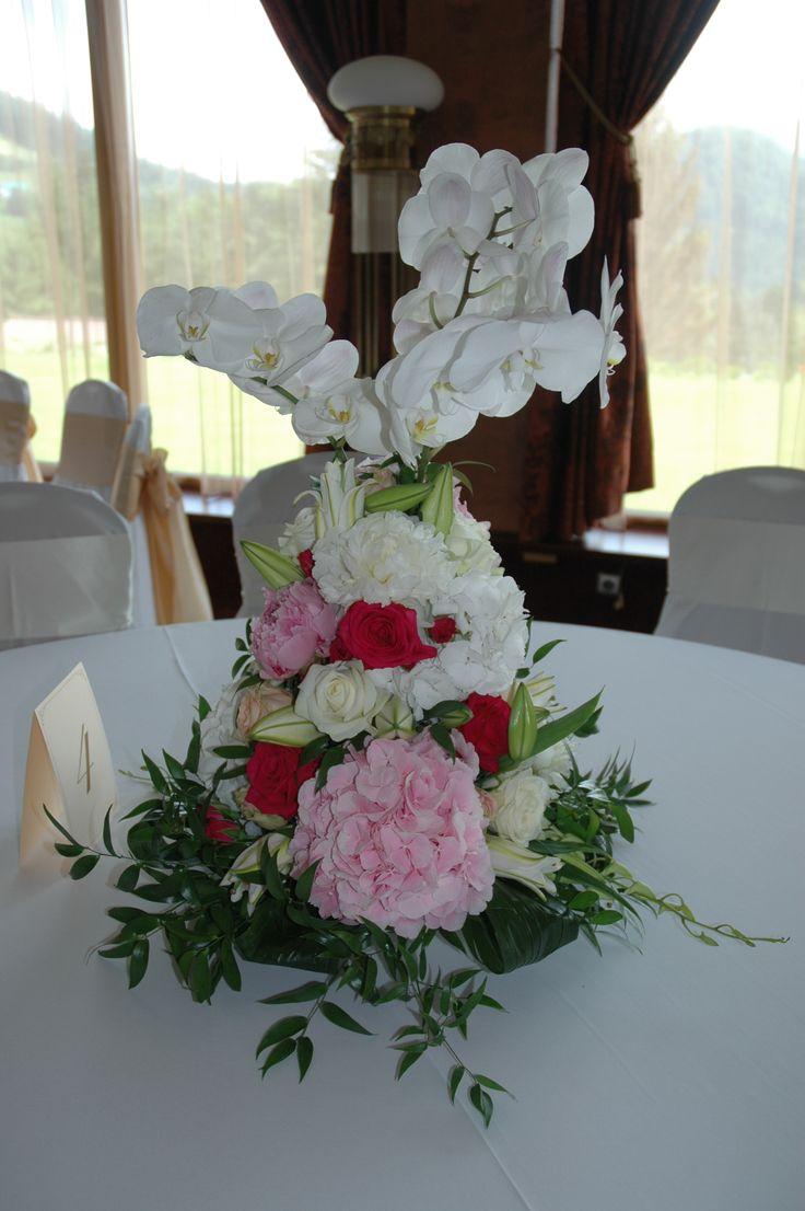 Výzdoba stola hortenzia, ruže, orchidea