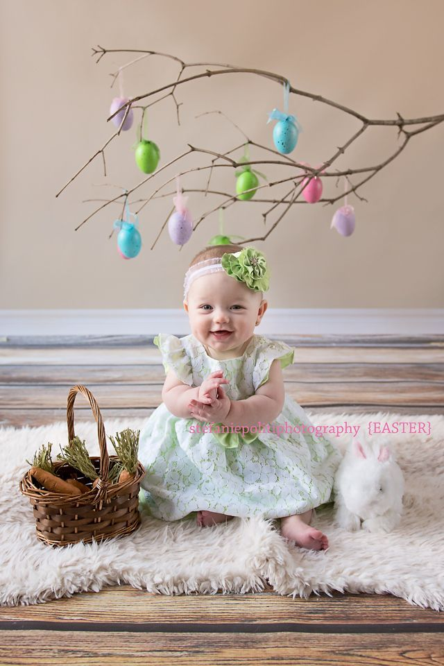 Easter Photos don't have to be complicated. A branch with some eggs hanging from it provides the perfect backdrop!