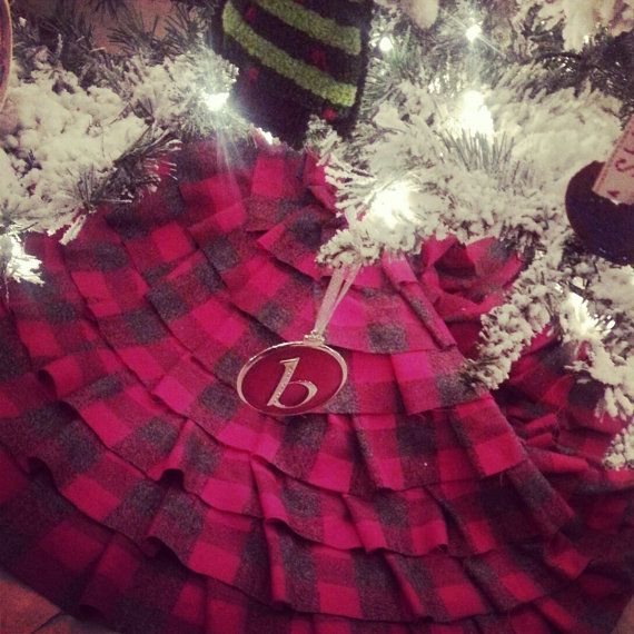 Rustic Flannel Ruffle Tree Skirt Christmas At By VixensloveVintage 8500