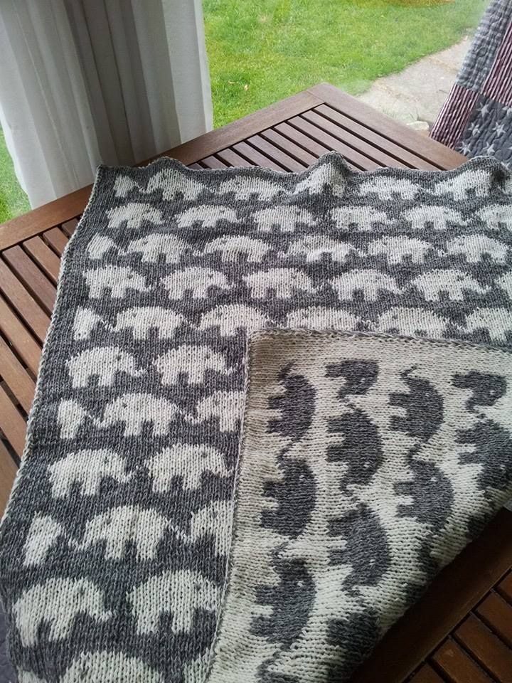 Knitting Pattern Baby Blanket Double Knitting : Elefant-Babyt?ppe i dobbeltstrik. Pattern in Danish. http ...