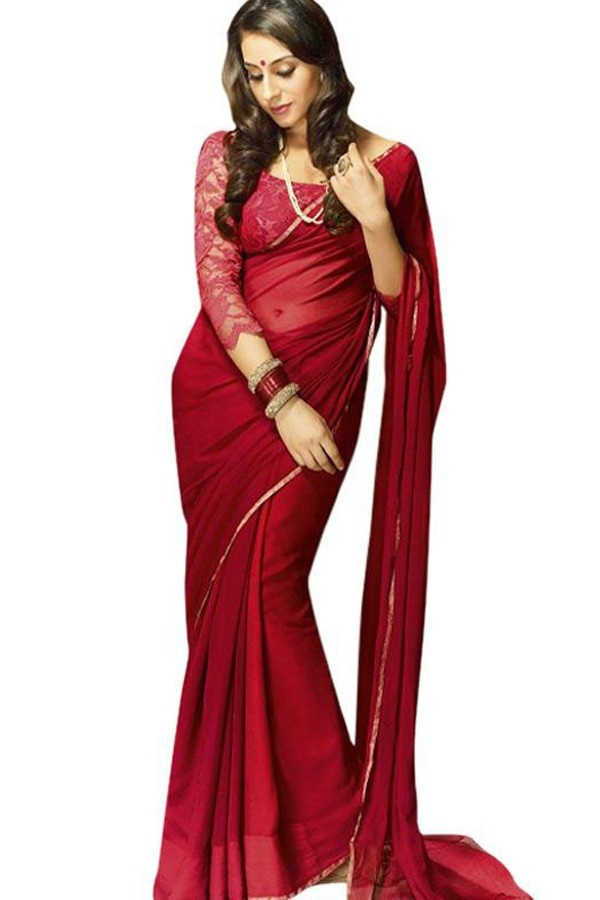 Dabangg 2 Red Chiffon Embroidered Designer Saree Fabric - Chiffon Color - Maroonish Red More details  Reference : VLR4125 http://valehri.com/sarees/93-dabangg-2-red-chiffon-embroidered-designer-saree.html
