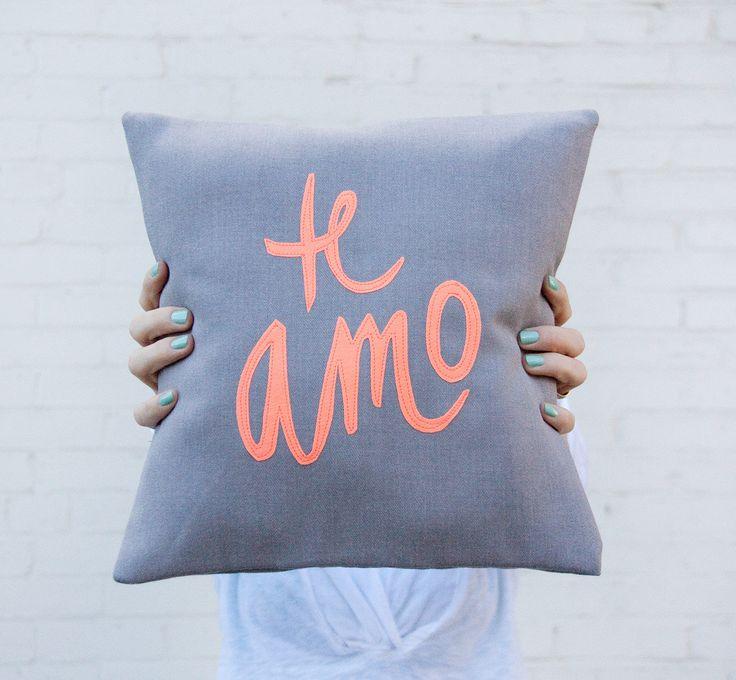 Grey and Neon Coral Te Amo Pillow #love #valentine