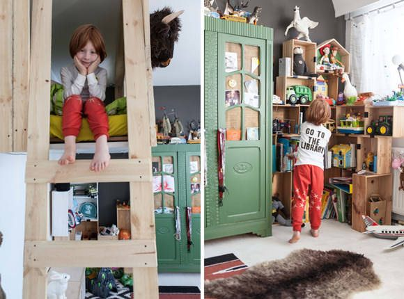 Fabulous loft bed in a boy's room in Belgium      Love the corner shelves...  Now where could I come up with all those wood boxes for next to nothing?????