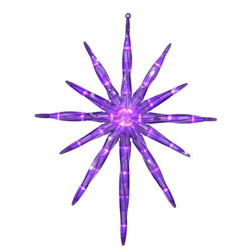 "17"" LED Lighted Purple Starburst Hanging Christmas Decoration by Vickerman. Save 50 Off!. $19.99. LED Lighted Purple Starburst Hanging Christmas DecorationItem #X110466Features:Transparent purple framePre-lit with 35 wide angle LED bulbs Purple bulbs with white wire23 inch lead cordPlug contains 1 end connector which allows you to stack multiple plugs on top of each other (not to exceed 210 watts)Double-sidedLoop on top of decoration for easy hangingNo assembly needed - comes in one pi..."