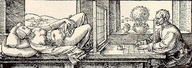 """Durer's """"Draughtsman's Net"""", """"Treatise on Measurement with Compasses and Straightedge (Underweysung der Messung mit dem Zirkel und Richtscheyt)"""", Nuremberg, 1525"""