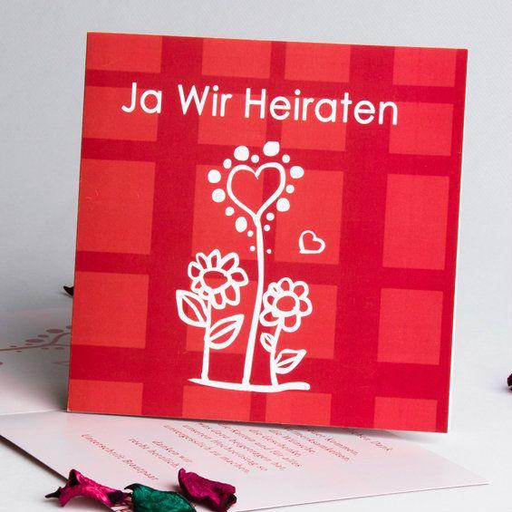 Rot Und Sonnenbluemn Einladungskarten Blanko Hochzeit Http://www