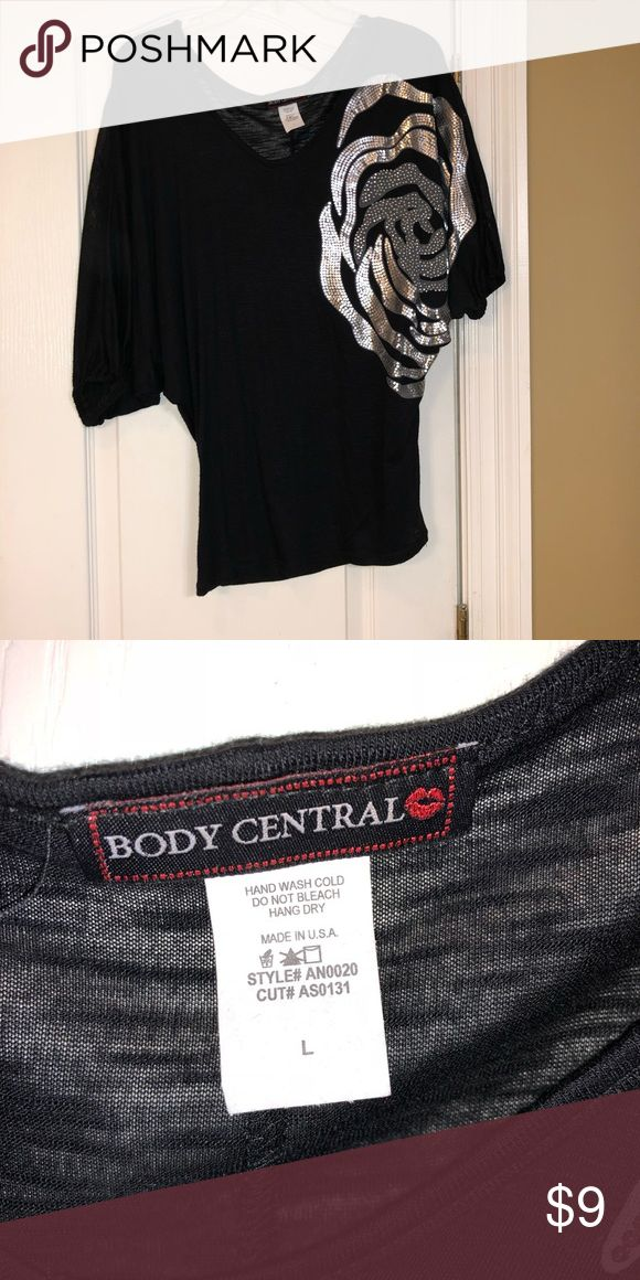 Black/Silver Batwing Top Sz Large Body Central Sz large Batwing Black/Silver Top. Body Central Tops Tunics