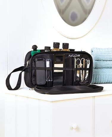 Gifts for him: It's easy to look sharp while you're on the road with this 10-Pc. Men's Travel Grooming Set in your suitcase. The sleek and functional travel bag has a handle and two spacious zippered compartments. One compartment uses elastic bands to hold the included grooming tools while the other compartment can be used for your own soaps, shampoos and more. The manicure tool opens into three separate, handy tools including a file, a bottle opener and a knife.