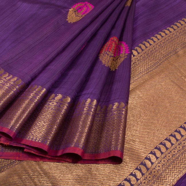 Handwoven Purple Banarasi Kadhwa Tussar Silk Saree With Embroidered Makkai Motifs 10013366 - AVISHYA.COM