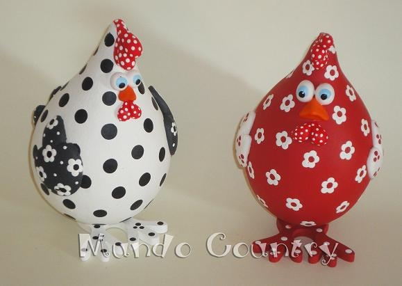Gourds painted like chickens.  Cute for Joyce.