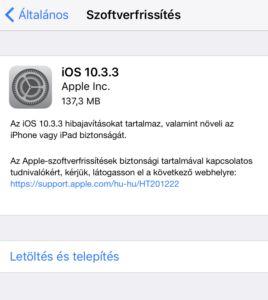 Tölthető az iOS 10.3.3!
