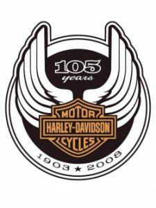 Harley-Davidson 105th anniversary logo, with curved wings and a circular border. Evolution of logos.