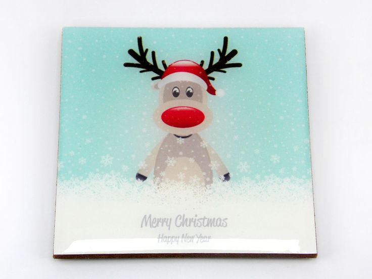 Merry Christmas Happy New Year Reindeer Snowing Drink Coaster Unique Gift Osarix