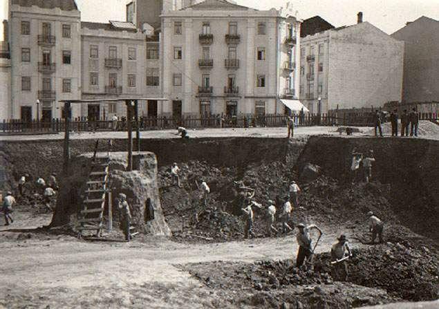 Construção da praça do Chile, Lisboa (1939, A.F.C.M.L.)