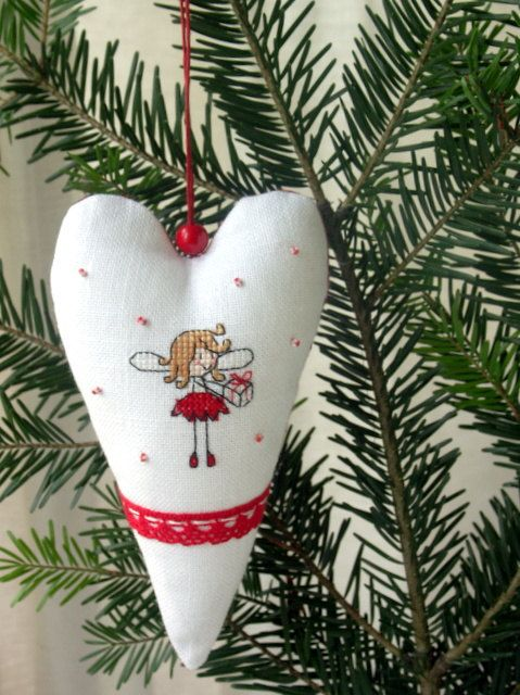 hand embroidered Christmas ornament in red and by BelaStitches, $15.00