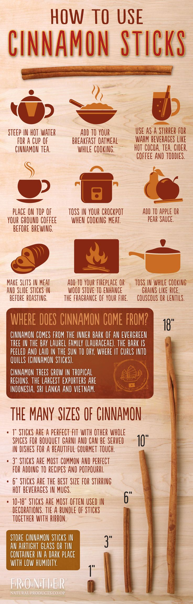 HOW TO USE CINNAMON STICKS. Enjoy this cool infographic detailing uses of this wonderfully healthy spice.