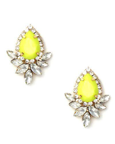 Neon Yellow Jewel Earrings