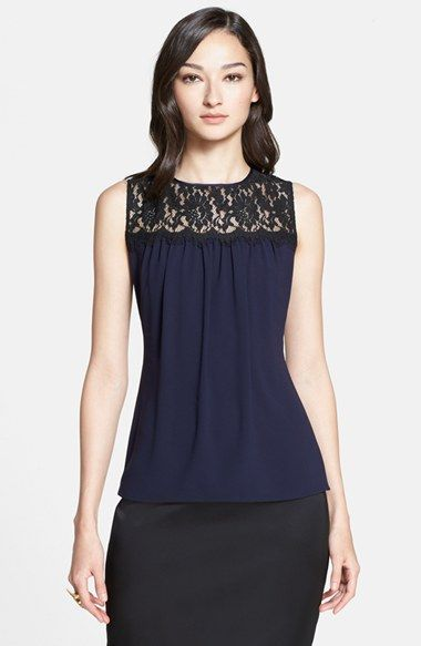 St. John Collection Rose Noir Lace Yoke Shell available at #Nordstrom