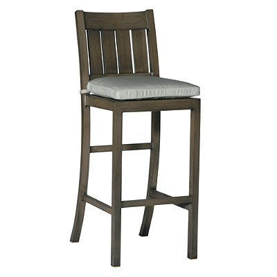"Croquet Aluminum Bar Height Bar Stool With Cushion By Summer Classics (30""H Seat) - Satine Ether, Weathered - Frontgate"