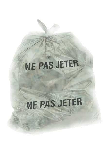 """Plastic bag with NE PAS JETER inscription: Small plastic bag with """" NE PAS JETER"""" print"""