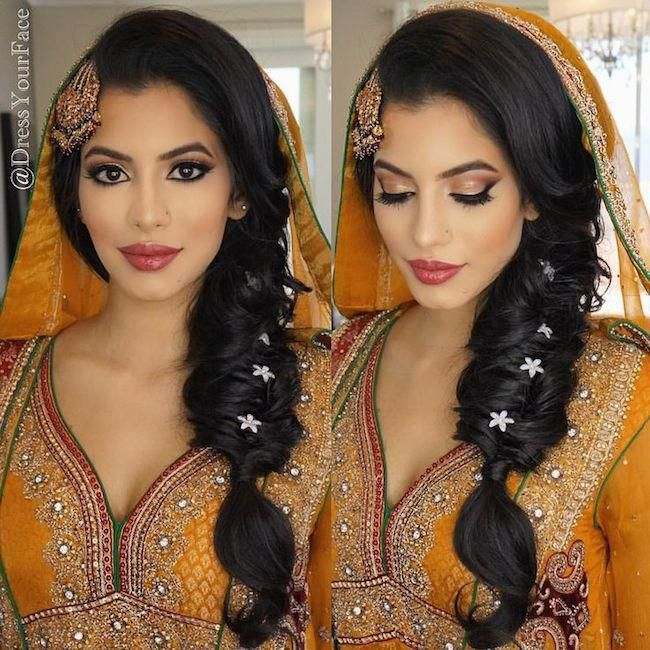 Image result for dupatta for bride with braid