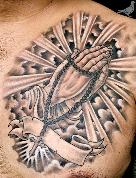 PRAYING HANDS, ROSERY CHEST TATTOO | durbmorrison.com