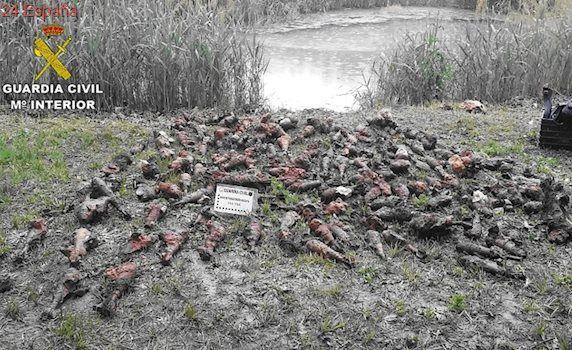 Hallan más de 500 granadas de mortero en un acuífero de Teruel