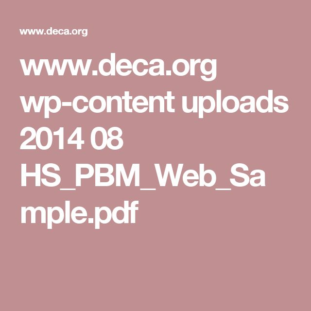 www.deca.org wp-content uploads 2014 08 HS_PBM_Web_Sample.pdf