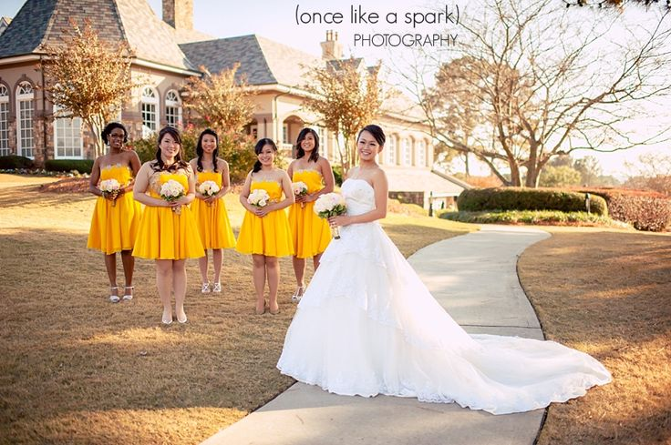 Bridal Party Shot In Front Of St Ives Clubhouse Reception Venue At Country Club Johns Creek Atlanta Georgia Michael Kartika S Wedd