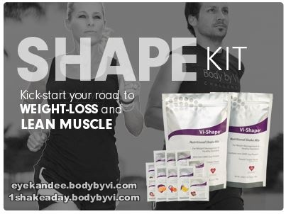 "The ""Shape"" Kit helps you to see results and start shaping your body. This kit contains 60 servings of balanced nutrition with our Vi-Shape™ Nutritional Shake Mix, so that you can have 2 meals per day of this great-tasting shake packed with powerful nutrition. The kit includes an assortment of our Health Flavors, to add flavor variety, and added health benefits to your shake.   http://eyekandee.bodybyvi.com  http://www.1shakeaday.ca"