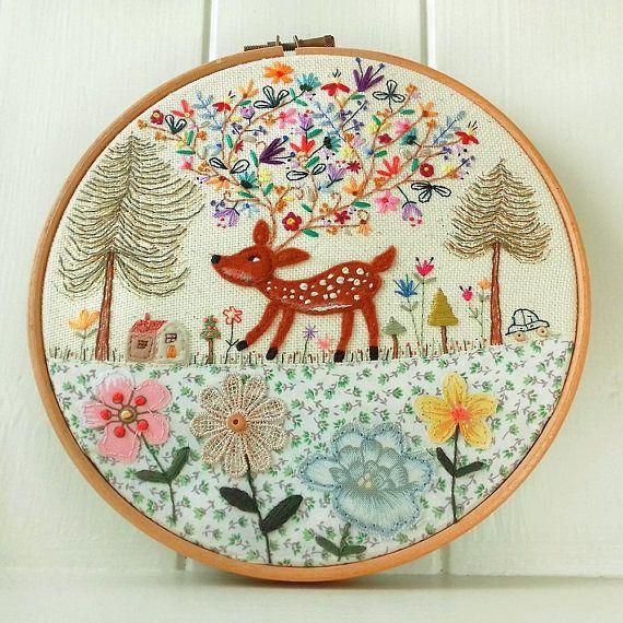 Flowers in the Forest  Embroidery Hoop Art  Cute Deer