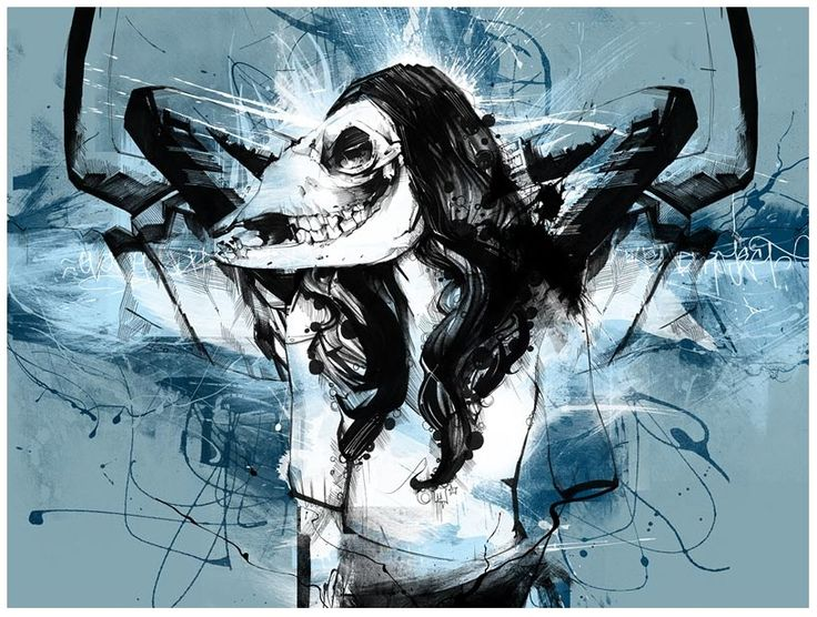 Skull Illustration by Russ Mills