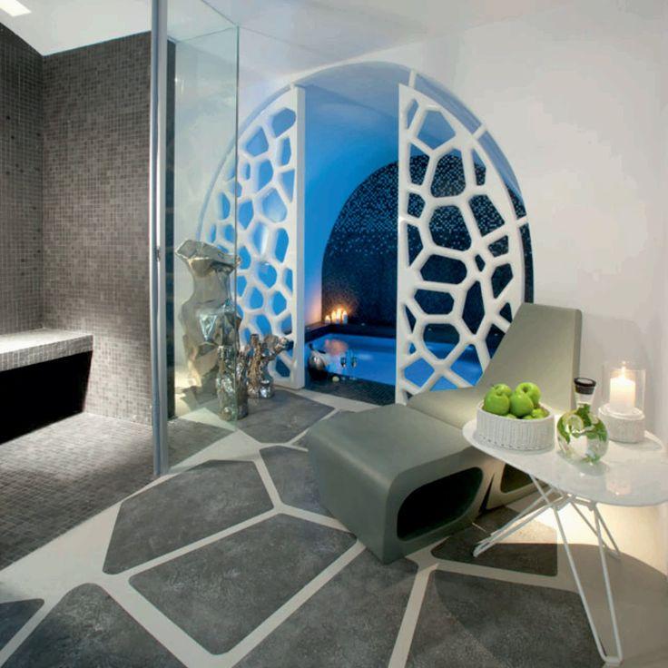 Grace Santorini Hotel. Bathroom cob house in greece (turismo ecosostenibile)