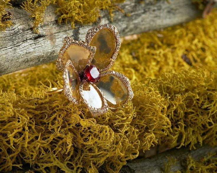 Sidney Garber Yellow flower ring