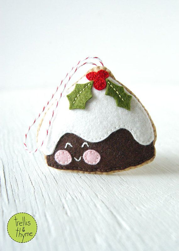 Nothing says Have a jolly Christmas! like plum pudding! This darling felt cookie is stitched entirely by hand, and is the perfect pattern for