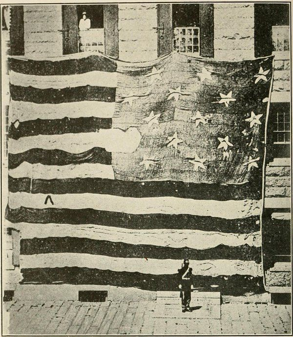 "The original ""Star Spangled Banner"" that flew over Fort McHenry."