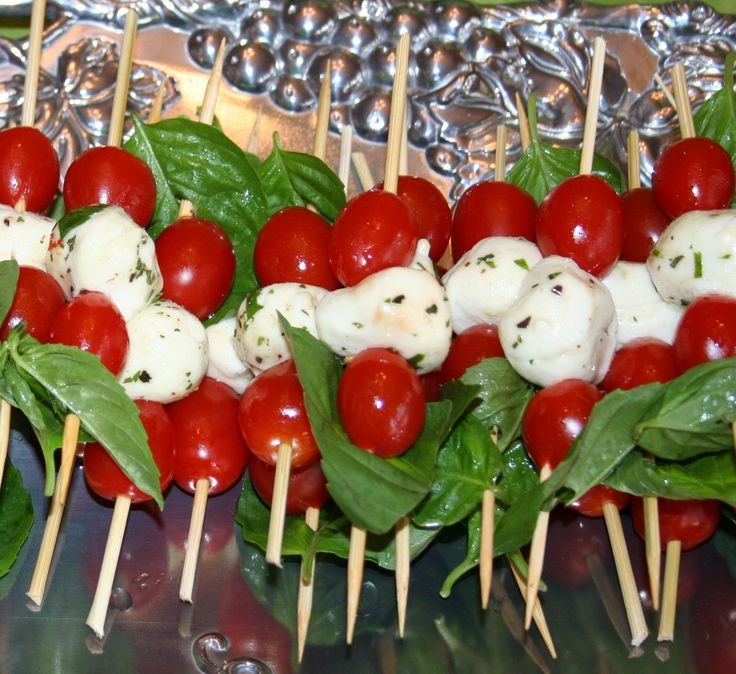 Costco's marinated mozzarella balls with basil and cherry tomatoes - easy finger food