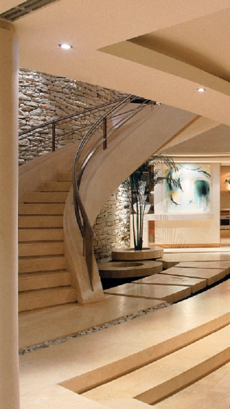 I Love The Modern Stairway And Contrasting Rock Wall I