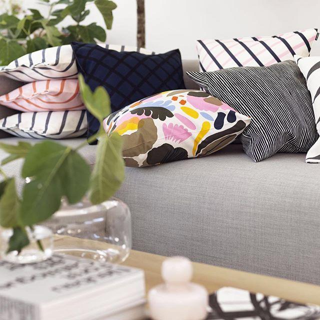 Spring in cushions - Mint, Quilt, Hattarakukka and Varvunraita. Which one is your favorite? // #marimekkoss16 #marimekko