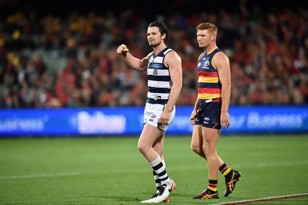 Patrick Dangerfield of the Cats reacts after the final siren during the round eight AFL match between the Adelaide Crows and the Geelong Cats at Adelaide Oval on May 13, 2016 in Adelaide, Australia.