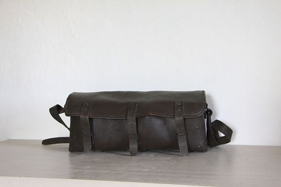 Vintage Leather Work Bag French Tool Satchel by RueVertdegris